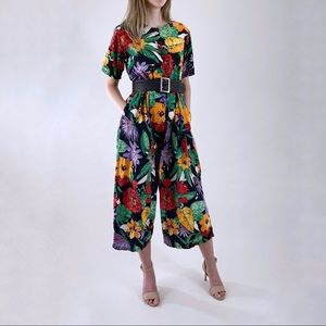 80s 90s Vintage Tropical Rainbow Roomy Jumpsuit